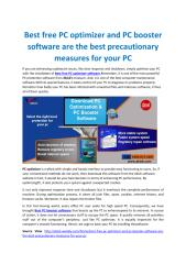 Best free PC optimizer and PC booster software are the best precautionary measures for your PC.pdf