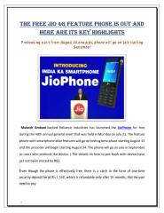 The free JIO 4G feature phone is out and here are its key highlights.pdf