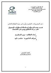دعم المشروعات الصغيرة وأثره في تنمية القطاع الخاص دراسة تطبيقية على شركة عبد اللطيف جميل.doc